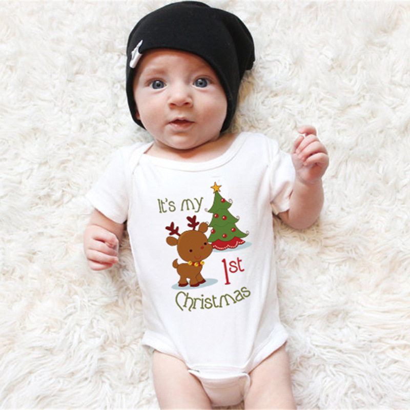 Newborn Its my 1st Christmas Baby Bodysuits Boys Girls Clothes Pants Cute Reindeer Kids Christmas Clothing Gift