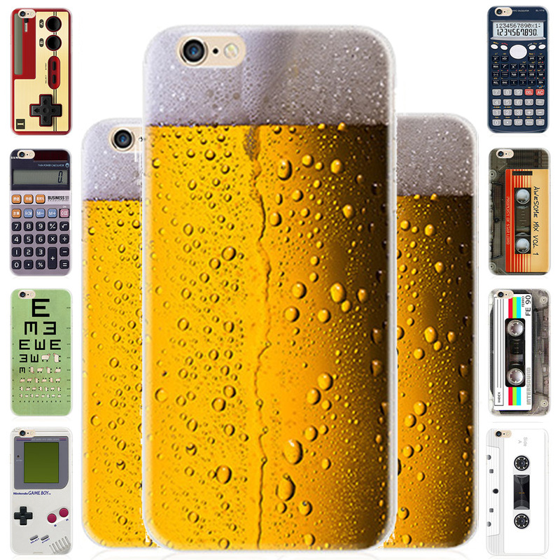 i5 i6 TPU Game Camera font b Calculator b font Drink Beer Camouflage Soft Phone Shell