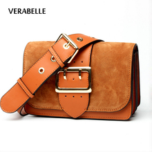 VERABELLE 2017 cowhide fashion nubuck split leather shoulder women purse belt straps high quality messenger/crossbody female Bag