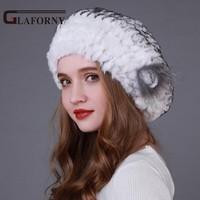 Glaforny 2018 Winter Real Rex Rabbit Fur Hat Beret Fur Cap Winter Genuine Women's Warm Hat with Fox Fur Flower Wholesale