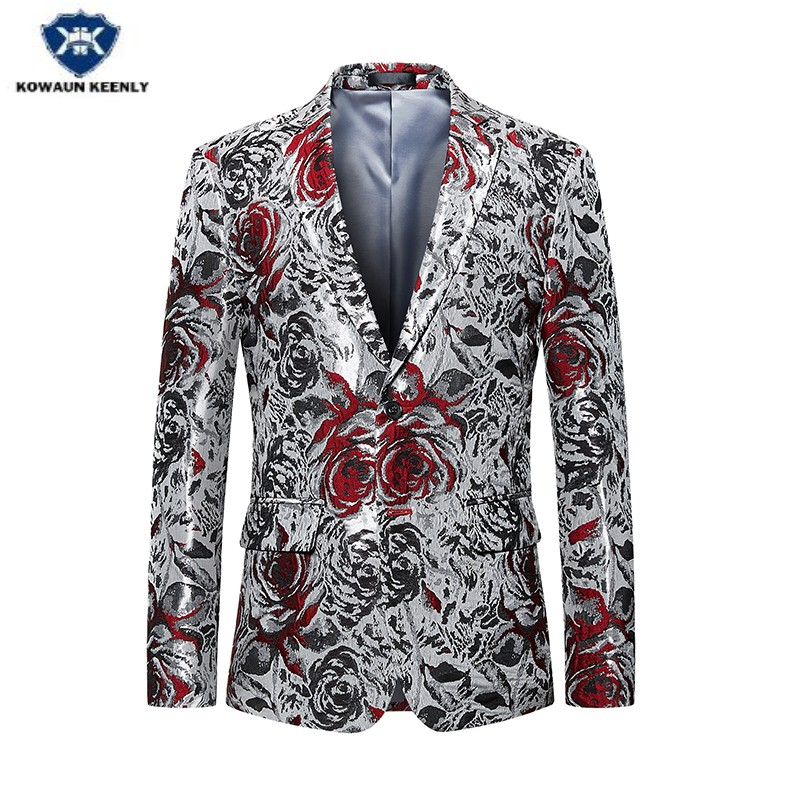 Kowaunkeenly 2018 new arrival Mens Business Slim Small Suit blazers,single breasted Fashion Printed Blazer coat,big size M-6XL.