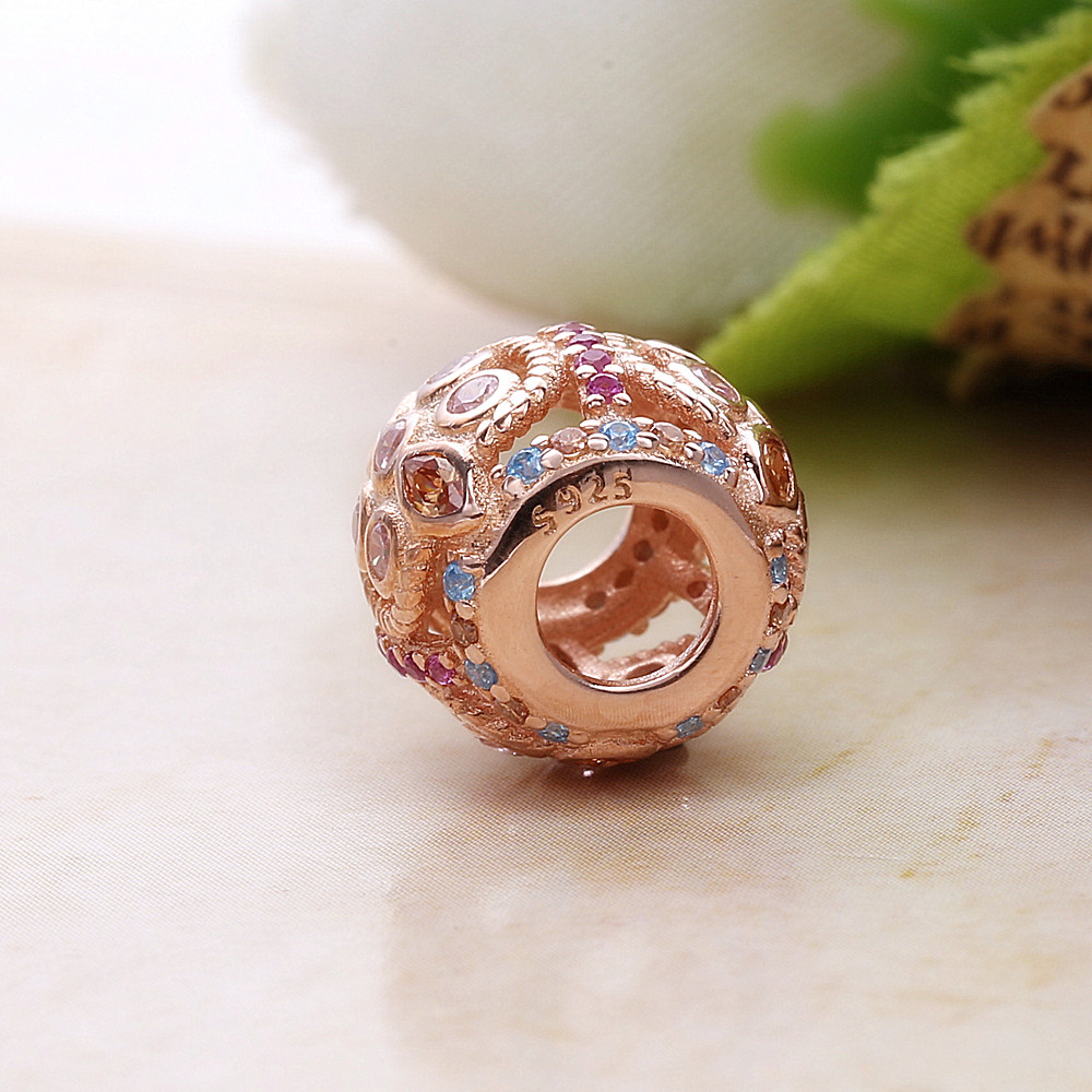 Slovecabin Original 925 Sterling Silver Openwork Rose Crystal Charm Beads For Jewelry Making Diy Fit Pandora Charms Bracelets