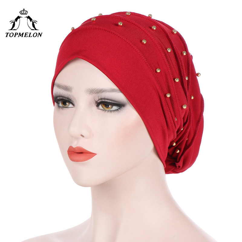 TOPMELON Arab Hat Female Beading   Skullies     Beanies   Pleated Dots Pattern Turban Muslim Islamic Fashion Caps