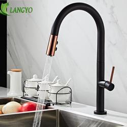 LANGYO Schwarz Weiß küche wasserhahn 360Ronating geschwärzt waschbecken wasserhahn kalt und heißer küche mischbatterie geschwärzte Ziehen küche mixer