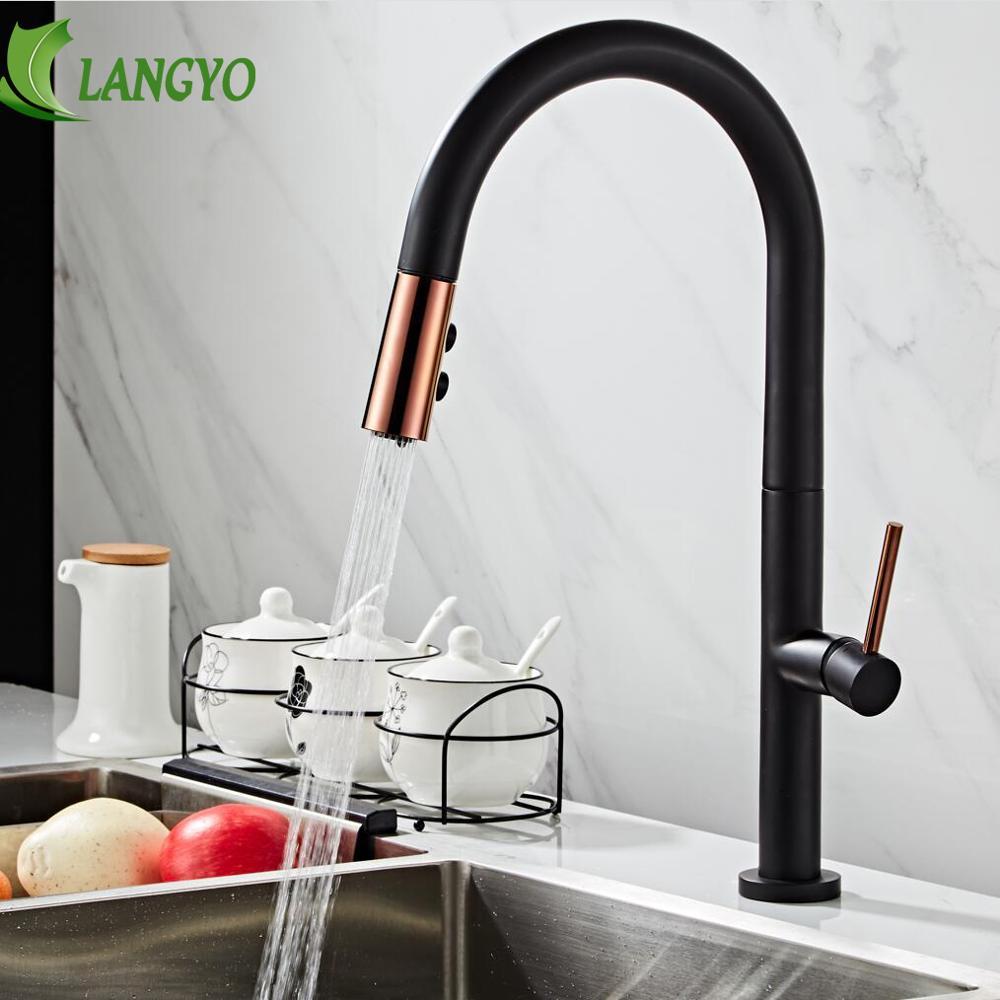 LANGYO noir blanc robinet de cuisine 360Ronating blackend évier robinet froid et chaud cuisine mélangeur robinet noirci tirer mélangeur de cuisine