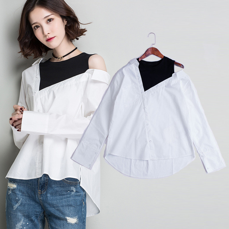 2017 haute qualité 100% coton chemises Patchwork Blouses grande taille hauts femmes Vintage Blouse coréenne chemise à rayures Blusas printemps Bts