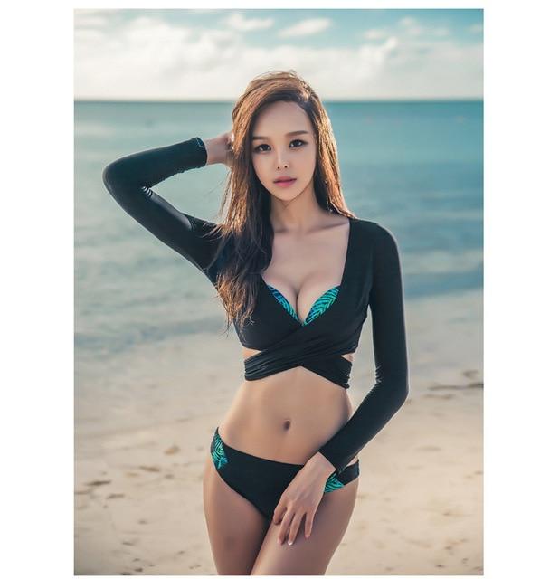 a2ad9e7d7c bikini Swimsuit Women 3 pieces Korea style Swimwear Bikini Set 2017 High  Quality summer V-neck Long Sleeves Split push up Bikini