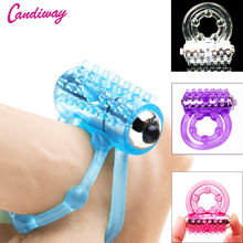 CandiWay mini Vibrators rings double cockring Delay Premature Ejaculation penis ball loop lock Sex Toys product for Men cheap Latex cockring for men rabbit dildo toys sex toys for couples games finger vibrator for woman clit toy
