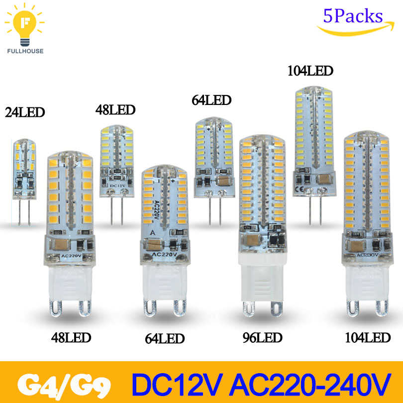 5pcs/lot  Lowest price G4 G9LED Bulb SMD 2835 3014 LED G4 G9 LED lamp 3W 7W 8W 10W 12W led Light 360 Degree Replace Halogen Lamp
