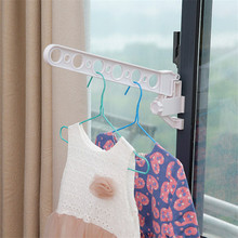 Foldable Window Hanger Clothes Hanger Rack Hanging Clothes Rod Wardrobe Portable Space Saver Hangers Laundry Rack Storage Holder