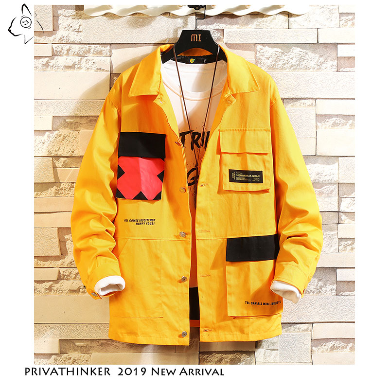 Privathinker Japanese Autumn Men's Black Jackets 2019 Fashion  Pockets Man Coats Patchwork Male Casual Jacket Outwear Clothes