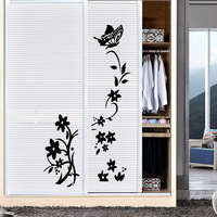 New arrival flower vine butterfly vinyl wall decal home decor living room diy art mural wall stickers removable