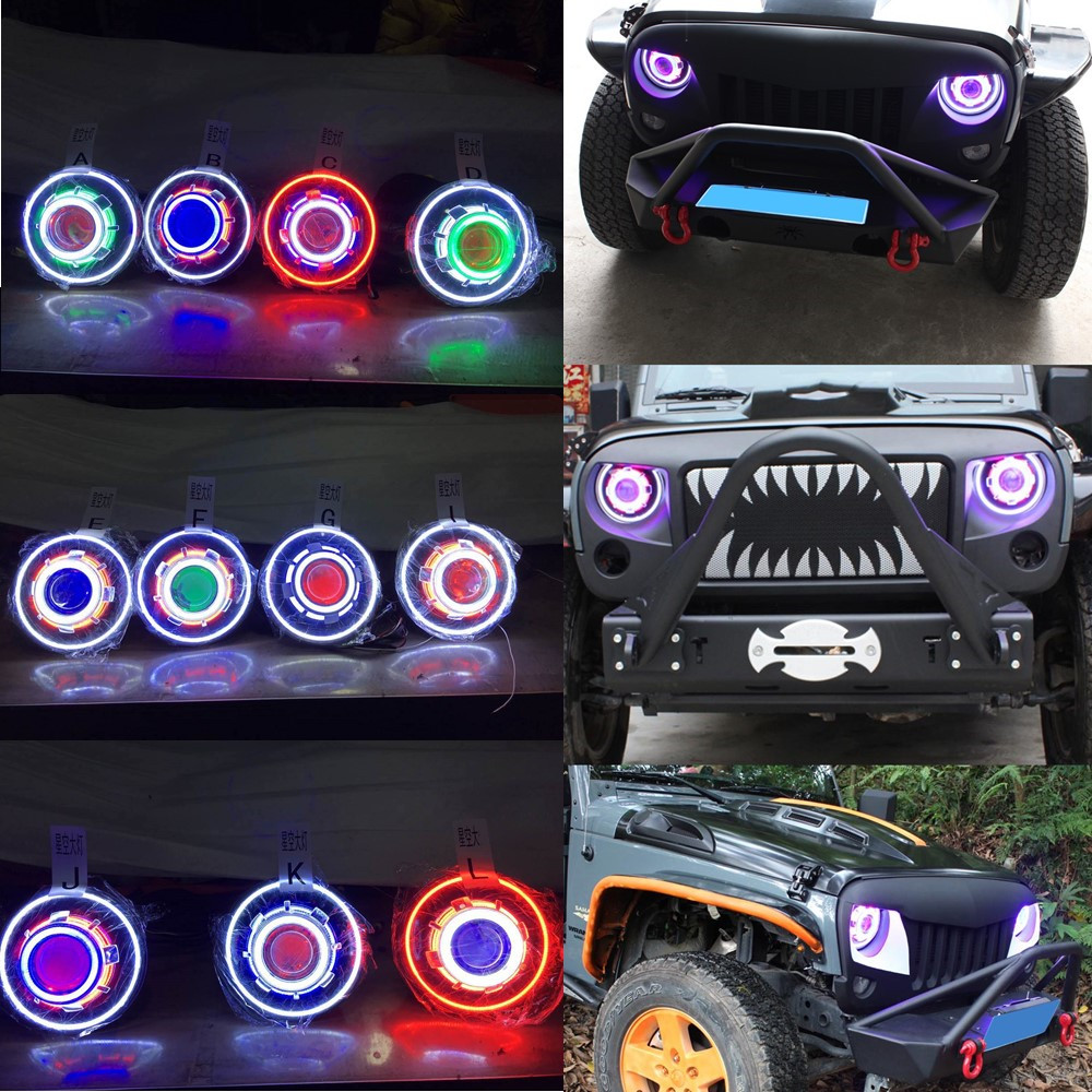7 Inches LED Starry Headlights With Devil Demon Eye and LED Angel For Jeep Wrangler JK ( 2 pcs)