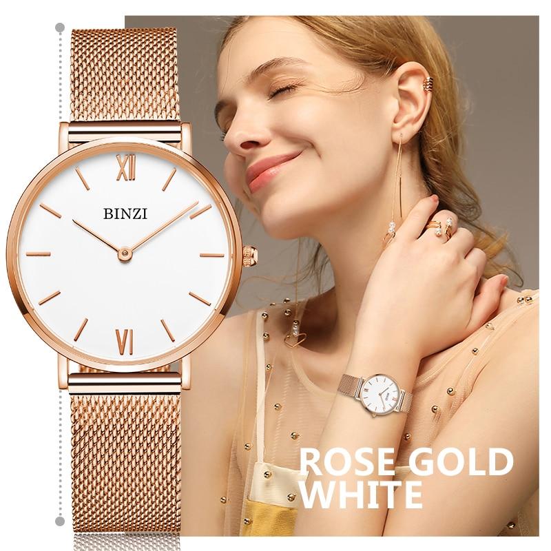 2017 BINZI  Womens Watch Top Brand Rose Gold Steel Mesh Belt Bracelet Hour Clock Luxury Ladies Watches Montre Femme Reloj Mujer рюкзаки deuter рюкзак
