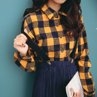 Vintage Shirt Women 2017 Spring England Style Plaid Frayed Tassel Turn Down Collar Long Sleeve Blouse