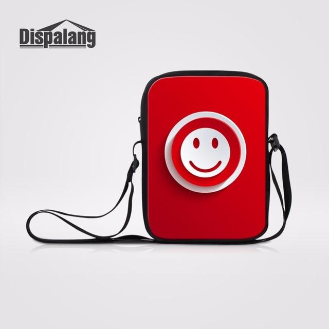 US $8 97 25% OFF|Dispalang Smile QQ Emoji Prints Red Crossbody Messenger  Bag For School Over Shoulder Small Messenger Bag Kid Mini Bookbag Bolsas-in