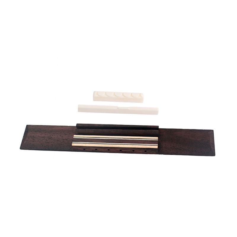 1 Set Classical Guitar Bridge Rosewood Pre-Slotted Bone Saddle Nut Replacement