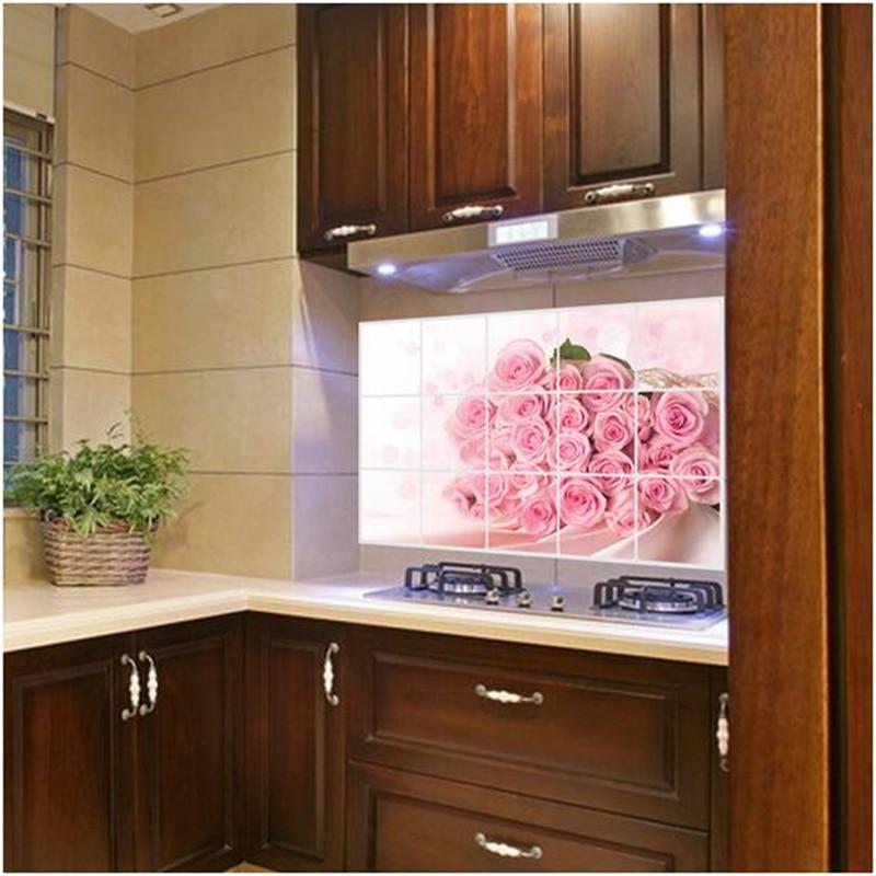 US $1.94 20% di SCONTO|ZUCZUG Rosa Rosa Adesivi Per La Cucina Finestra  Adesivi Pellicola Impermeabile Carta Da Parati Decorata Romantico Cucina ...
