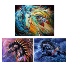 Horse DIY 5D Round Full Drill Diamond Painting Embroidery Cross Stitch Kit Rhinestone Home Decor Craft chicken diy 5d round full drill diamond painting embroidery cross stitch kit rhinestone home decor craft christmas gifts