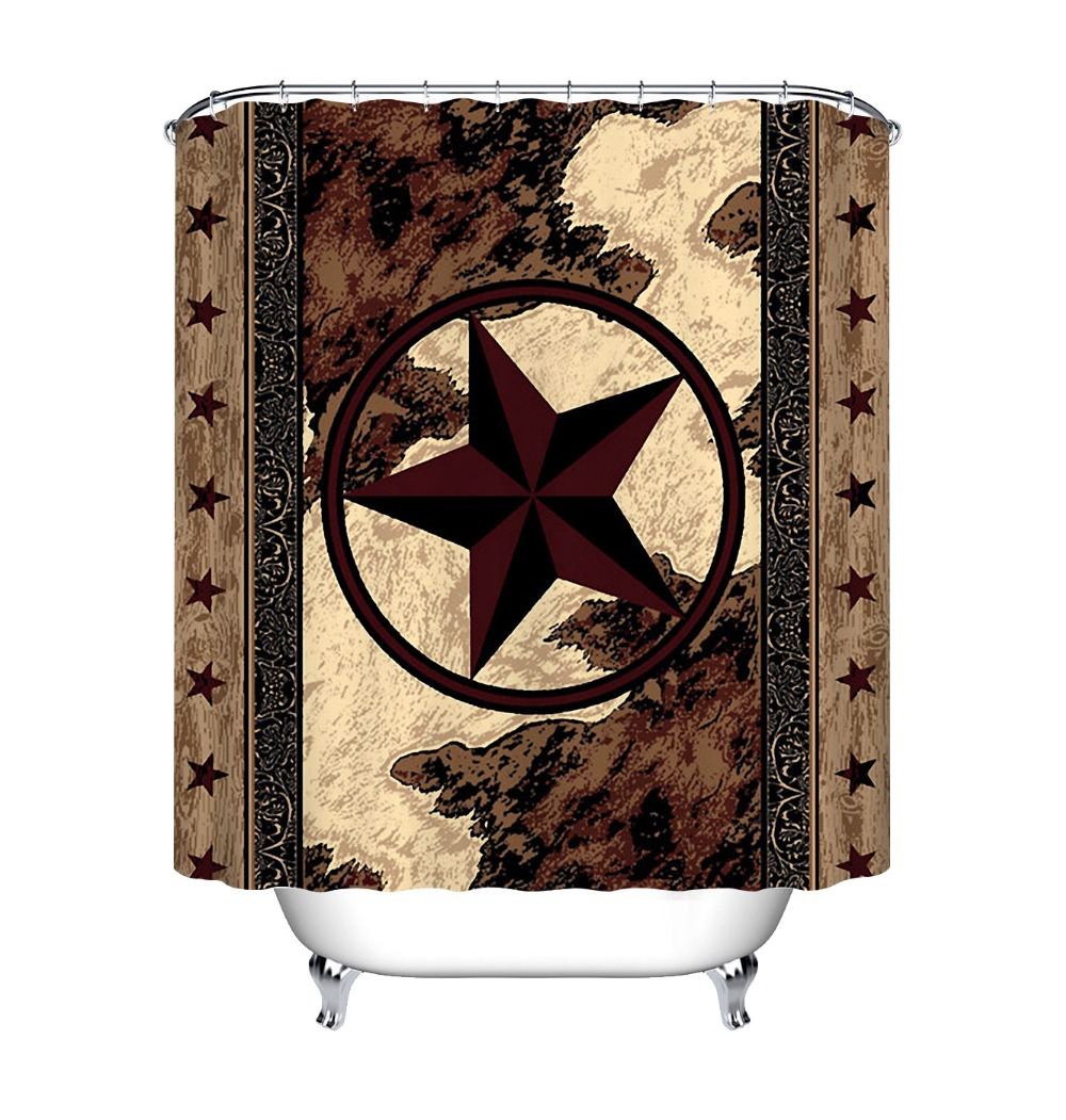 Shower Curtain Antique Wheels American Flag Western Decor 70 Inches Long