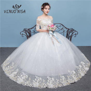 Delicate Quality A-Line Wedding Dresses Elegant Boat Neck Flower Pattern and Sequined  White Lace with Champagne Embroidery