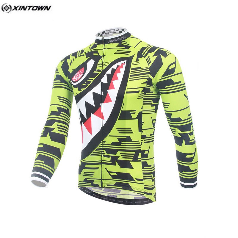 Hot Men Bike Long jersey Yellow Shark Pro Team Cycling clothing Riding Top MTB Ropa Ciclismo Wear Maillot Long Sleeve Shirts