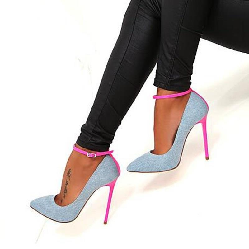 Hot Selling Women Denim Blue Pointed Toe Ankle Buckle Strap Sandals Summer Fashion Mixed Color Pink Stiletto Heel Dress Shoes ladies 1 7 sexy pointed toe back strap western mixed color high heel sandals shoes women big size shoes 4 14 pink blue white