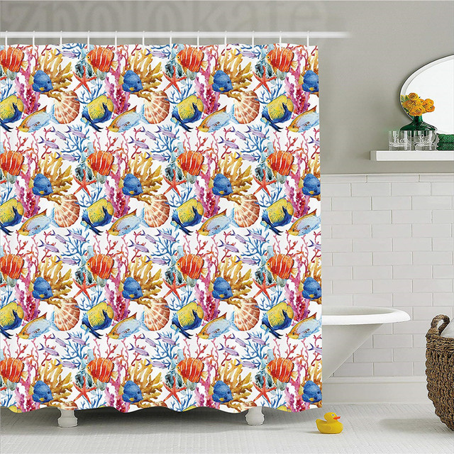 Ocean Animal Decor Shower Curtain Coral Reef Scallop Shells Fish Figures Sea Plants Polyp Murky Nautical Fabric Bathroom