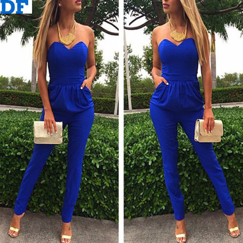 Slim Long Jumpsuit Women Off Shoulder Sexy Bodysuit Macacao Feminino Strapless Women Overalls Plus Size Jumpsuit