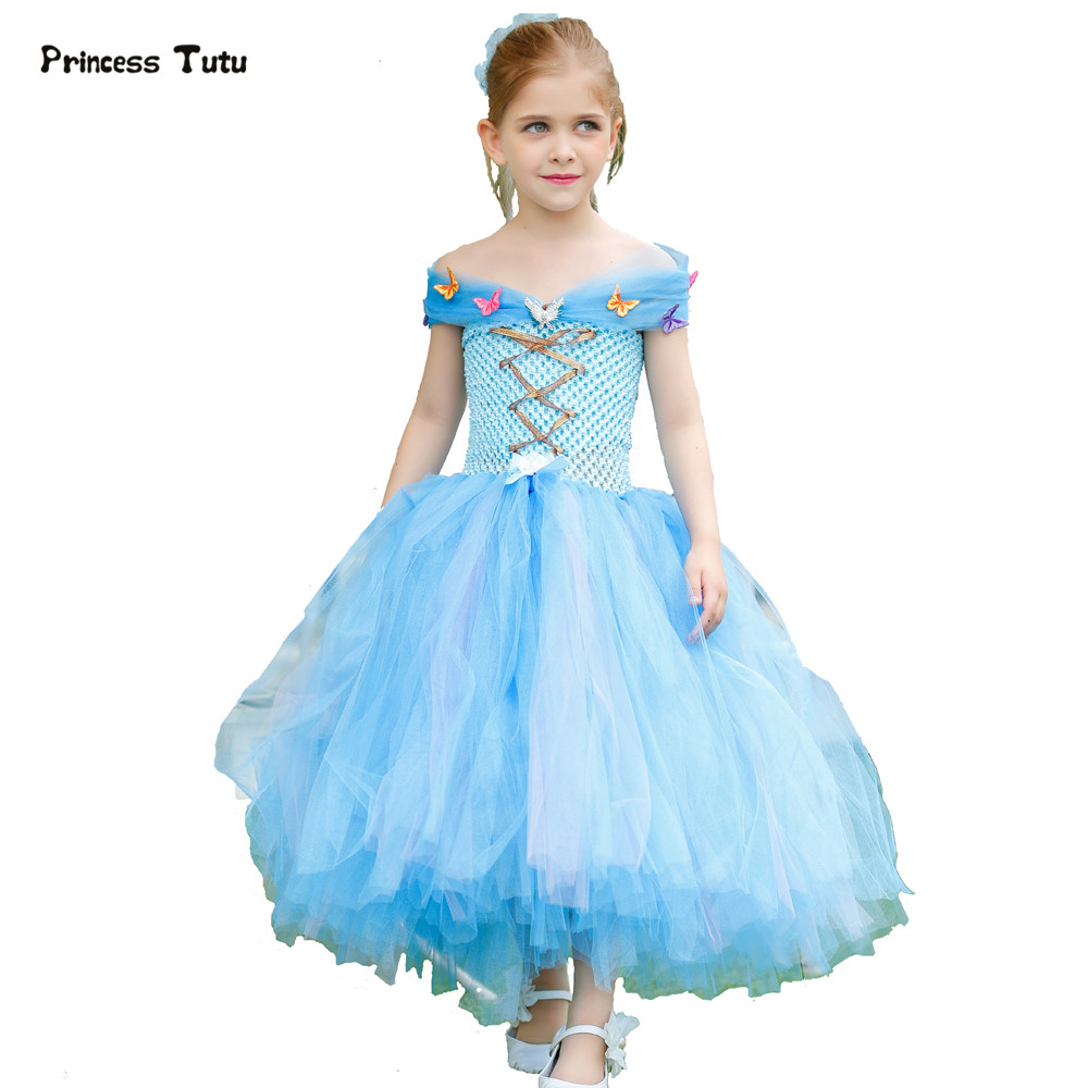 Blue Girl Princess Cinderella Dress Cosplay Tutu Dress Kids Tulle Christmas Halloween Costume Party Pageant Butterfly Girl Dress