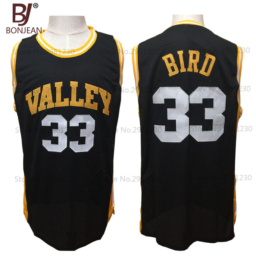 a7d4a88f6b3b BONJEAN Cheap Larry Bird  33 Spring Valley High School Basketball Jersey  Black Throwback Stitch Shirts Free Shipping