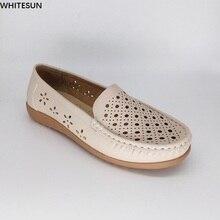WHITESUN 2017 d'été sandales compensées matures femmes à faible talon pompes évider respirant en cuir chaussures femmes lecteur de voiture chaussures