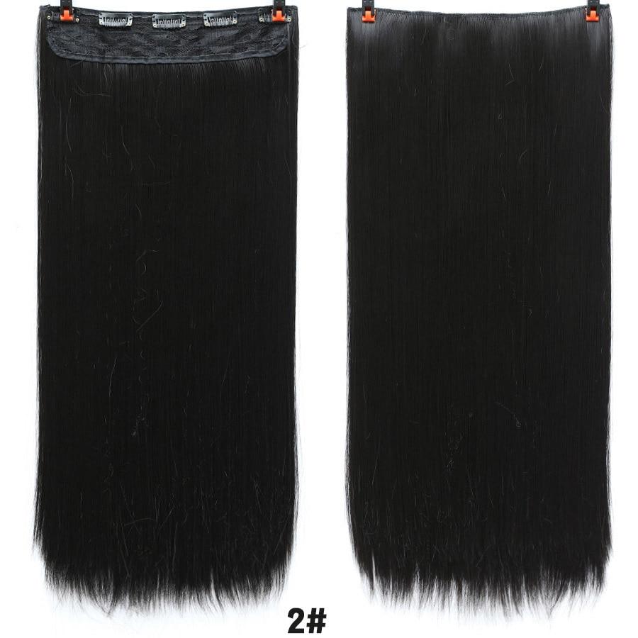 SHANGKE волосы 24 ''длинные прямые женские волосы на заколках для наращивания черный коричневый высокая температура Синтетические волосы кусок - Цвет: 2