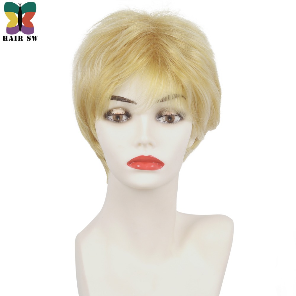 HAIR SW Short Straight Synthetic Hair Ladies wig Honey Blonde Fluffy Layered Pixie Angle ...