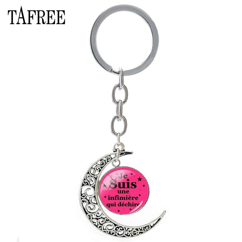 TAFREE Je Suis Une Infimiere Qui Dechire Moon Pendant Keychain Trendy Merci Maitresse Key Chain Key Ring Teachers Jewelry JE02