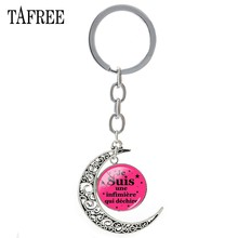 TAFREE Je Suis une infimiere qui dechire Moon Pendant Keychain Trendy merci maitresse Key Chain Key Ring Teachers Jewelry JE02(China)