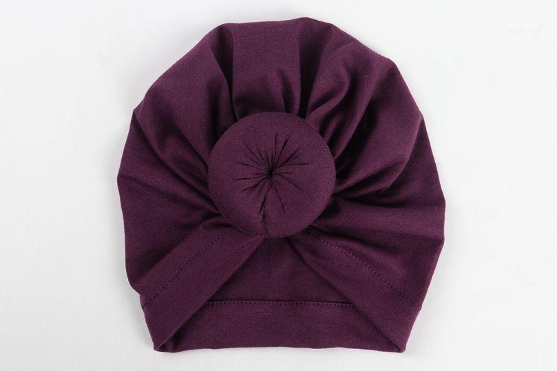 Коллекция года, Детские аксессуары для новорожденных, малышей, детей, малышей, маленьких мальчиков и девочек, тюрбан, хлопковая шапка, зимняя теплая мягкая шапка, одноцветные, с узелком, мягкая шапка - Цвет: Фиолетовый