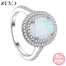 ZEMO Natural Fire Opal Stone Rings 100% 925 Sterling Silver Ring for Women Wedding Jewelry Luxury Finger Bands for Girls Ladies venidy female natural resizable opal ring fashion red 925 sterling silver jewelry vintage wedding rings for women birthday stone