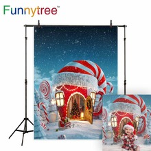 Funnytree backdrop for photo studio Christmas candy canes house winter snow fariy tale kids photography background photocall