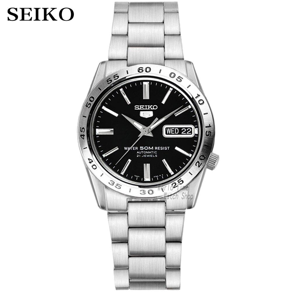 Saatler'ten Mekanik Saatler'de Seiko izle erkekler 5 otomatik izle üst marka lüks Spor erkekler saat seti su geçirmez mekanik askeri İzle relogio masculinoSNK'da  Grup 1