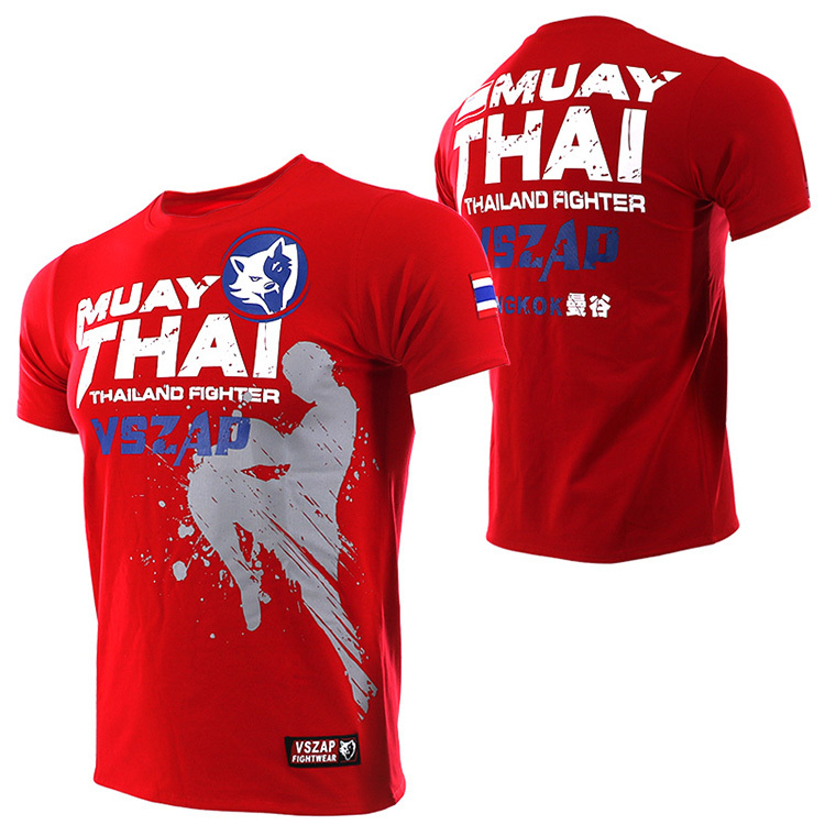 VSZAP Bangkok Red  Muay Thai T Shirt Men HommeBoxing MMA T Shirt Gym Tee Shirt Fighting Fighting Martial Arts Fitness Training