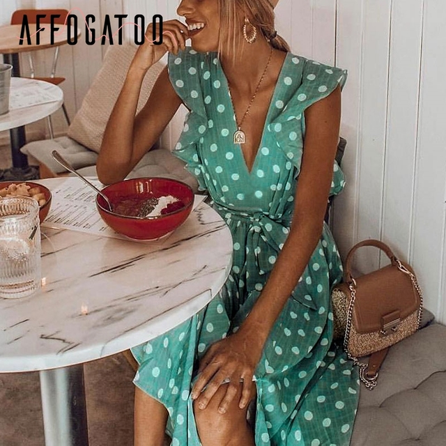 Affogatoo głębokie v szyi polka dot zielony letnia sukienka 2019 wzburzyć bez rękawów kobiety krótki sukienka skrzydła plaża seksowna sukienka femme vestido