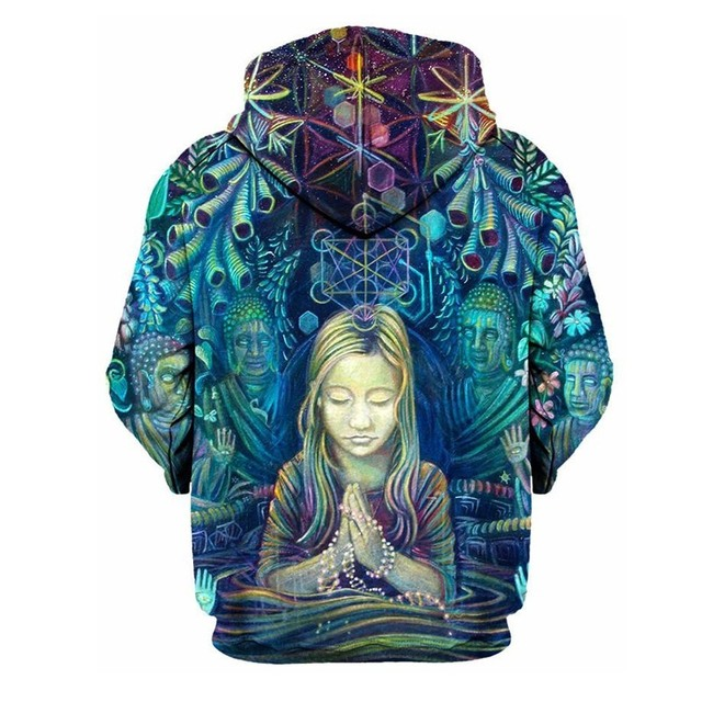 Buddha Hoodie Pray Girl Fashion Sweathirts Long Sleeve Hood Pullovers