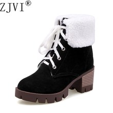 ZJVI womens ankle boots for women winter warm plush snow 2019 fashion woman square high heels ladies nubuck platform shoes