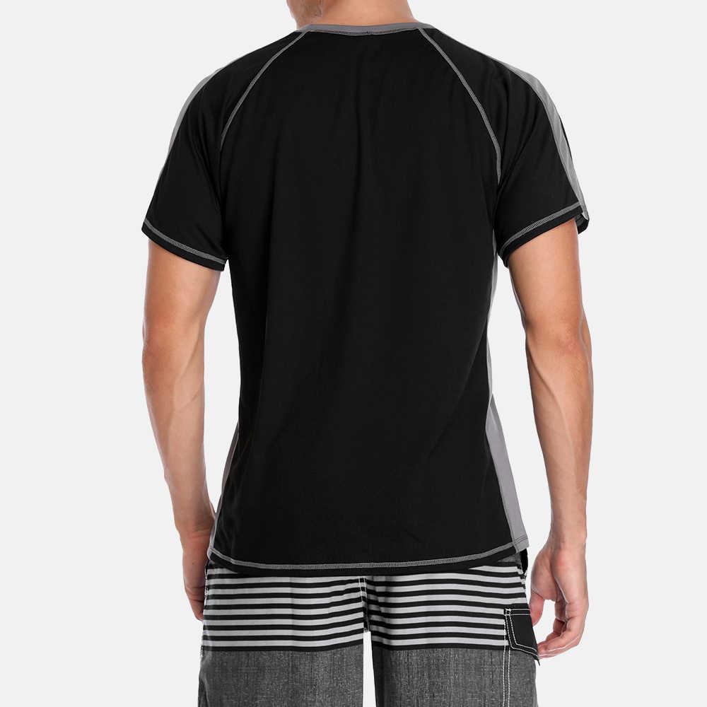 Charmo, Мужская Рашгард, сухая, короткая рубашка, костюм для серфинга, мужская рубашка для дайвинга, УФ-защита, Рашгард, топ, UPF 50 +, Лоскутная пляжная одежда