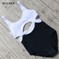 RUUHEE One Pieces Swimsuit Black Bodysuit Swimwear Women Push Up Monokini Sexy Bikini Bathing Suit Beachwear