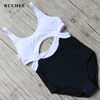 RUUHEE One Pieces Swimsuit Black Bodysuit Swimwear Women Push Up Monokini Sexy Bikini Bathing Suit Beachwear
