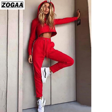 ZOGAA 2019 Spring striped crop top long sets Drawstring waist 2 two pieces suit Hoodie Top And Pant Tracksuit Women Sets