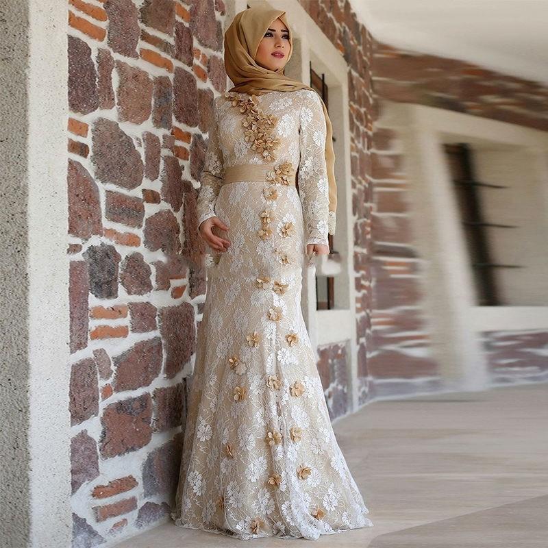 champagne muslim evening dress 2016 elegant turkish formal. Black Bedroom Furniture Sets. Home Design Ideas