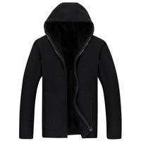 Men's coat To keep warm Men's plus Velvet Hooded Sweatshirt Men's Clothing Loose Polar Fleece Jackets Fleece Sports Clothing